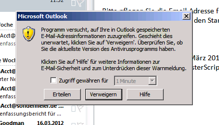 Outlookmeldung
